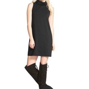Leith black mock neck shift dress